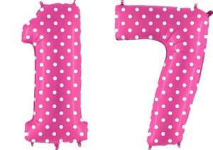 Luftballon Zahl 17 Zahlenballon pink mit weißen Punkten (100 cm)