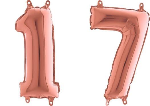 Luftballon Zahl 17 Zahlenballon rosegold (66 cm)
