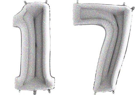 Luftballon Zahl 17 Zahlenballon silber-holographic (100 cm)