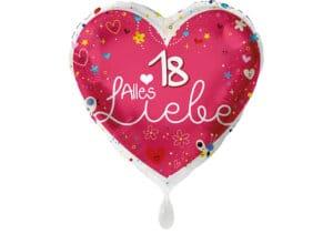 Herz Luftballon Alles Liebe Zahl 18 rot (38 cm)