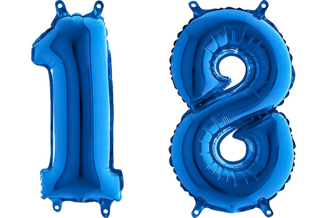 Luftballon Zahl 18 Zahlenballon blau (66 cm)