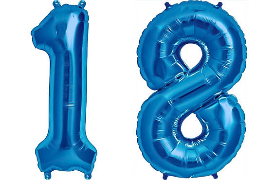 Luftballon Zahl 18 Zahlenballon blau (86 cm)