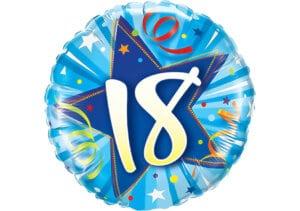 Runder Luftballon mit Stern und Zahl 18 blau (38 cm)