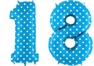 Luftballon Zahl 18 Zahlenballon blau mit weißen Punkten (100 cm)