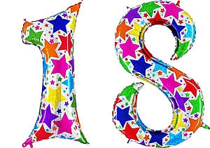 Luftballon Zahl 18 Zahlenballon silber mit bunten Sternen (100 cm)