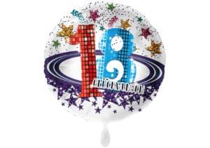 Runder Luftballon mit Glitzersternen und Zahl 18 in weiß (38 cm)