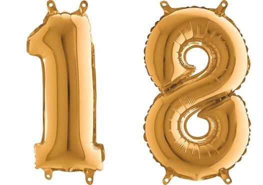 Luftballon Zahl 18 Zahlenballon gold (66 cm)