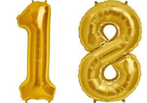 Luftballon Zahl 18 Zahlenballon gold (86 cm)