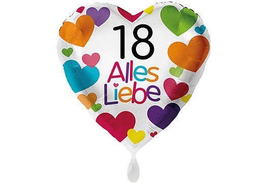 Herzluftballon mit kleinen Herzen Alles Liebe Zahl 18 weiß (38 cm)