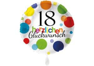 Runder Luftballon mit bunten Punkten Herzlichen Glückwunsch Zahl 18 weiß (38 cm)