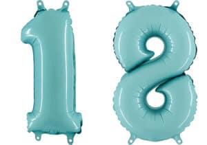 Luftballon Zahl 18 Zahlenballon pastell-blau (100 cm)
