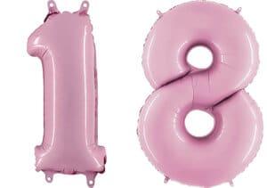 Luftballon Zahl 18 Zahlenballon pastell-pink (100 cm)