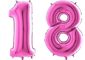 Luftballon Zahl 18 Zahlenballon pink (66 cm)
