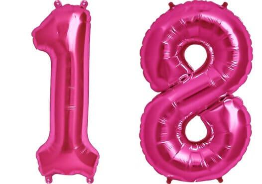 Luftballon Zahl 18 Zahlenballon pink (86 cm)