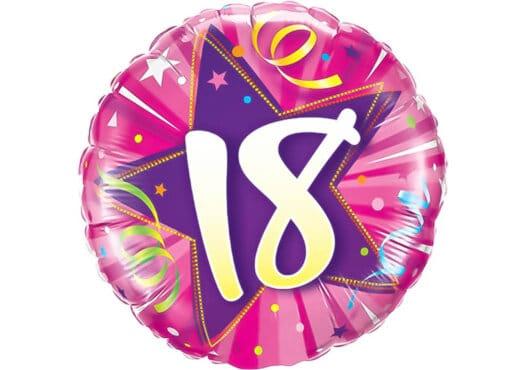 Runder Luftballon mit Stern und Zahl 18 pink (38 cm)