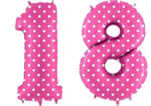 Luftballon Zahl 18 Zahlenballon pink mit weißen Punkten (100 cm)