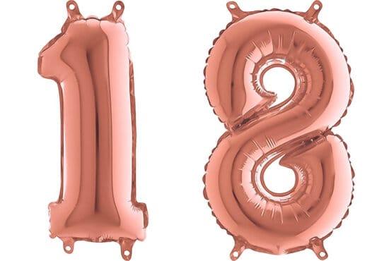Luftballon Zahl 18 Zahlenballon rosegold (66 cm)