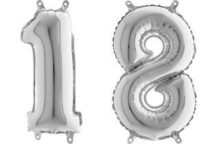 Luftballon Zahl 18 Zahlenballon silber (66 cm)