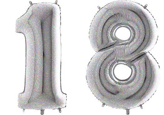 Luftballon Zahl 18 Zahlenballon silber-holographic (100 cm)