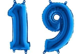 Luftballon Zahl 19 Zahlenballon blau (66 cm)