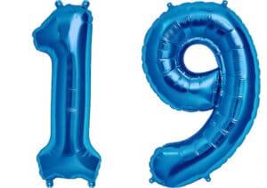 Luftballon Zahl 19 Zahlenballon blau (86 cm)