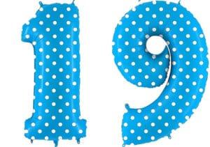 Luftballon Zahl 19 Zahlenballon blau mit weißen Punkten (100 cm)