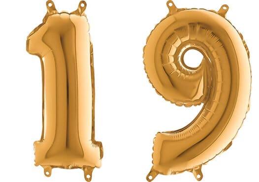 Luftballon Zahl 19 Zahlenballon gold (66 cm)