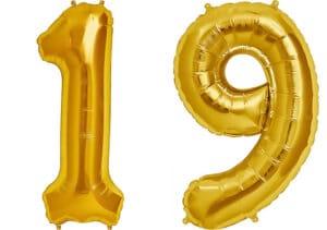 Luftballon Zahl 19 Zahlenballon gold (86 cm)