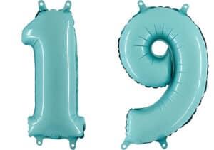 Luftballon Zahl 19 Zahlenballon pastell-blau (100 cm)