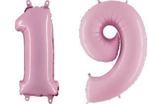 Luftballon Zahl 19 Zahlenballon pastell-pink (100 cm)