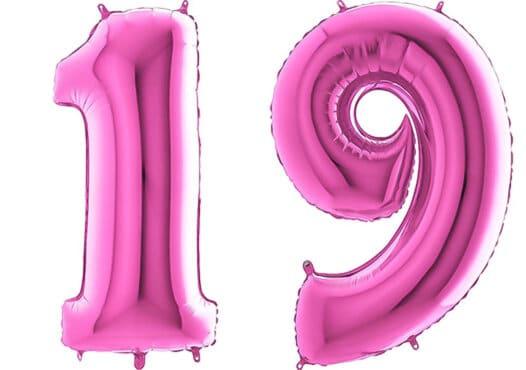 Luftballon Zahl 19 Zahlenballon pink (66 cm)