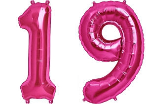 Luftballon Zahl 19 Zahlenballon pink (86 cm)