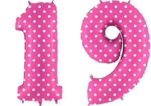 Luftballon Zahl 19 Zahlenballon pink mit weißen Punkten (100 cm)