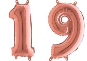 Luftballon Zahl 19 Zahlenballon rosegold (66 cm)
