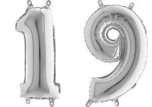 Luftballon Zahl 19 Zahlenballon silber (66 cm)