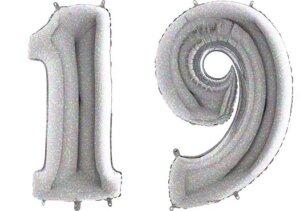 Luftballon Zahl 19 Zahlenballon silber-holographic (100 cm)
