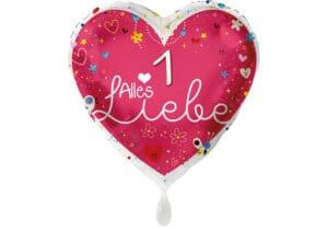 Herz Luftballon Alles Liebe Zahl 1 rot (38 cm)