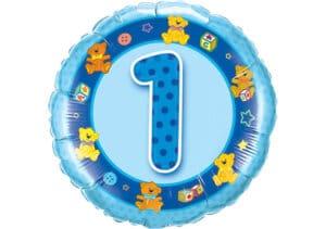 Geburtstagsluftballon mit Kindermotiven und Zahl 1 blau (38 cm)