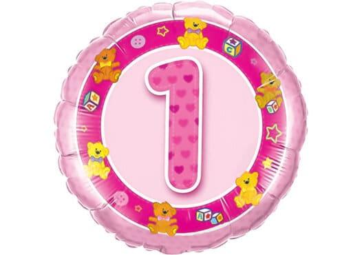 Geburtstagsluftballon mit Kindermotiven und Zahl 1 pink (38 cm)