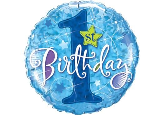 Luftballon 1st Birthday erster Geburtstag Zahl 1 blau (38 cm)