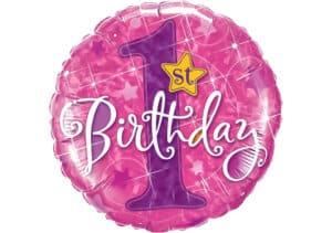 Luftballon 1st Birthday erster Geburtstag Zahl 1 pink (38 cm)