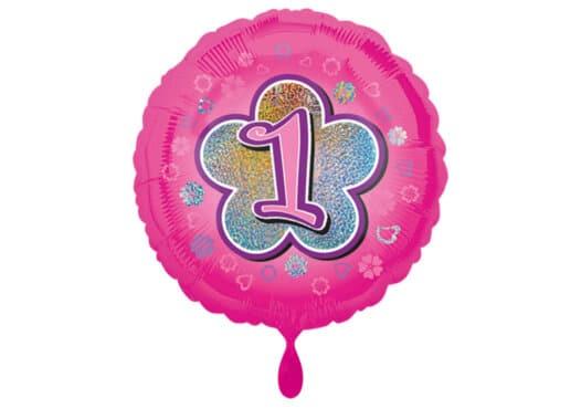 Runder Luftballon mit Blume und Zahl 1 pink (38 cm)
