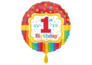 Rundballon 1st Birthday Erster Geburtstag Zahl 1 bunt (38 cm)