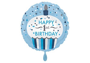 Luftballon rund erster Geburtstag Cupcake Zahl 1 blau (38 cm)