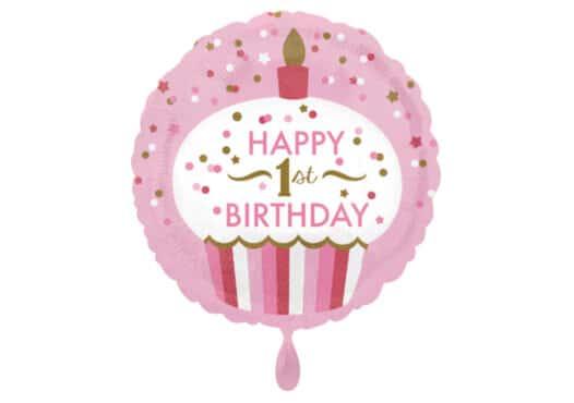 Luftballon rund erster Geburtstag Cupcake Zahl 1 pink (38 cm)