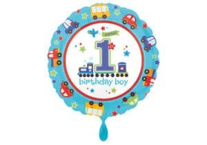 Luftballon rund erster Geburtstag Autos Zahl 1 blau (38 cm)