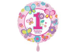 Luftballon rund erster Geburtstag Schmetterlinge Zahl 1 pink (38 cm)