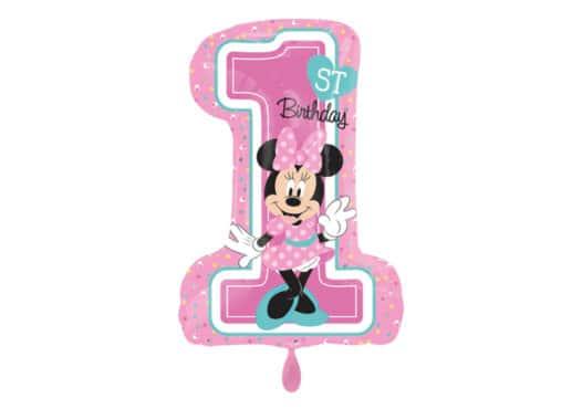 Luftballon Zahl 1 pink mit Minnie Maus (66 cm)
