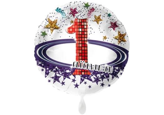 Runder Luftballon mit Glitzersternen und Zahl 1 in weiß (38 cm)