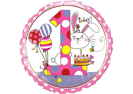 Runder Luftballon Hase mit Luftballons und Kuchen Zahl 1 weiß (38 cm)